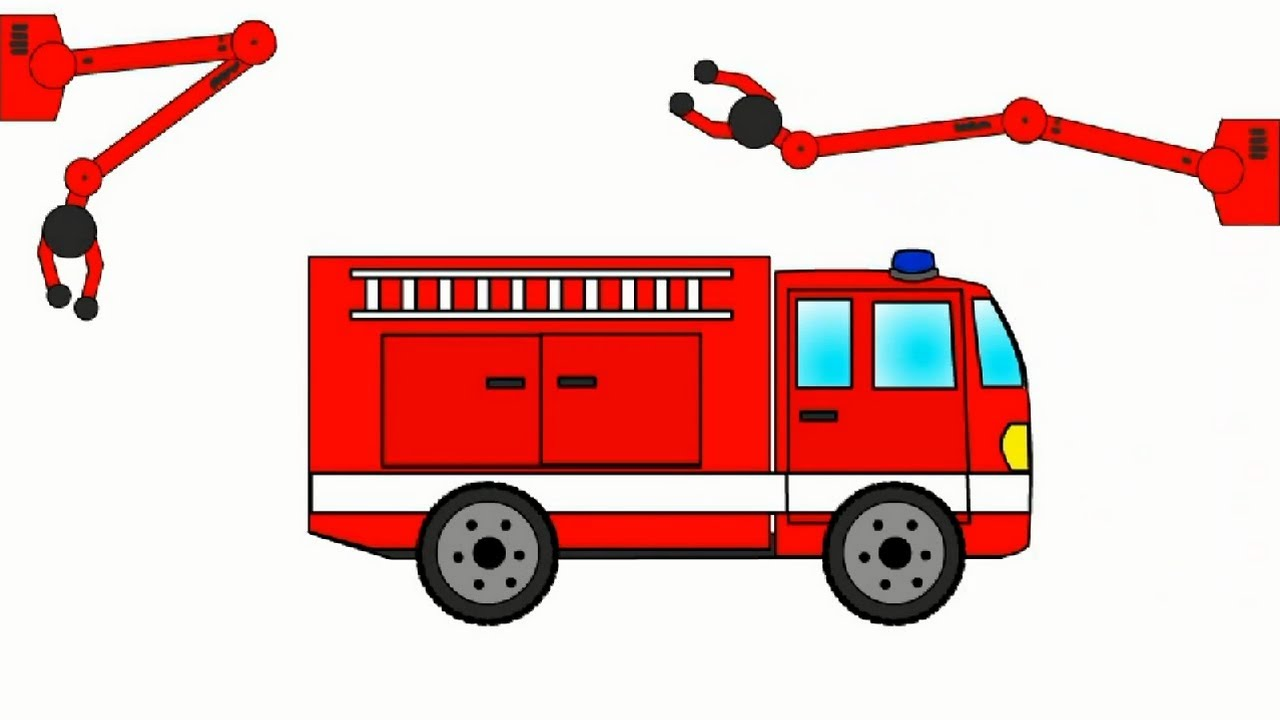 1280x720 Big Construction Fire Truck. Cartoons For Children.
