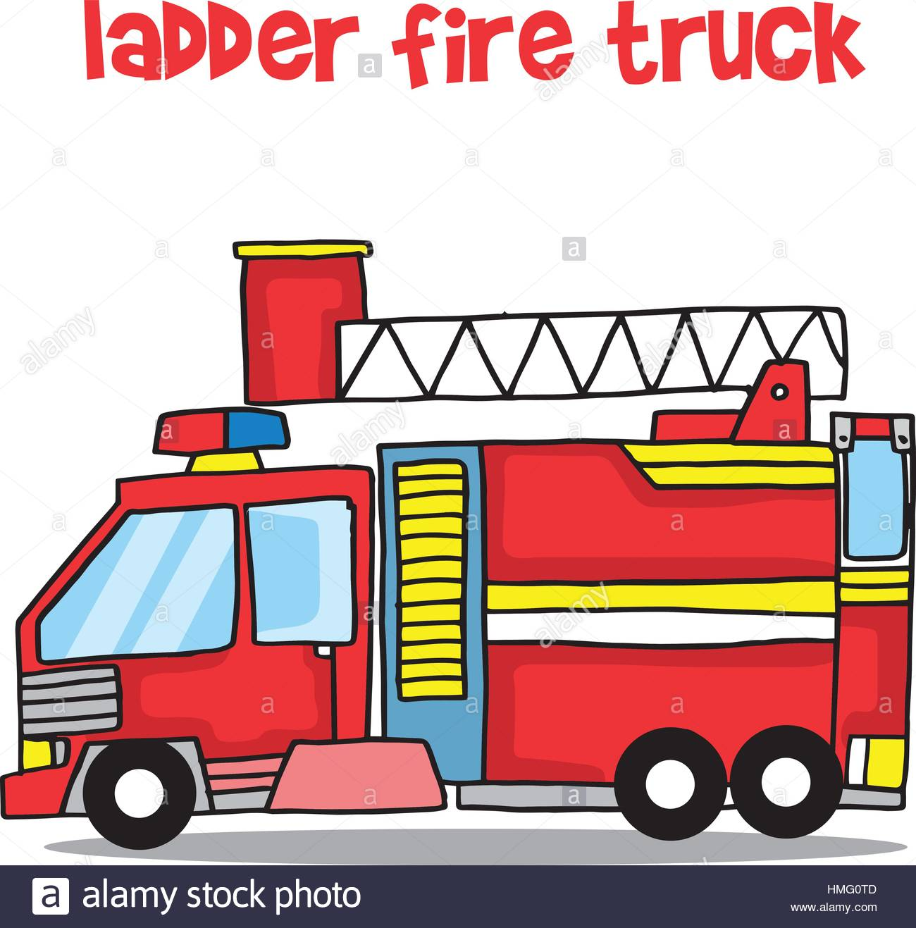 1300x1317 Transport Of Ladder Fire Truck Cartoon Stock Vector Art