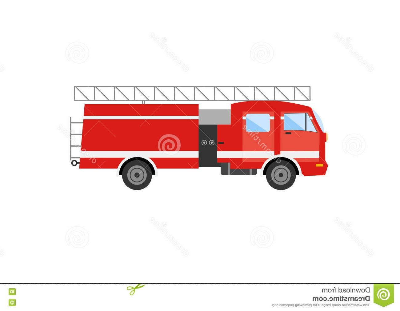 1300x1011 Unique Side View Red Fire Truck Vector Illustration Engine File Free