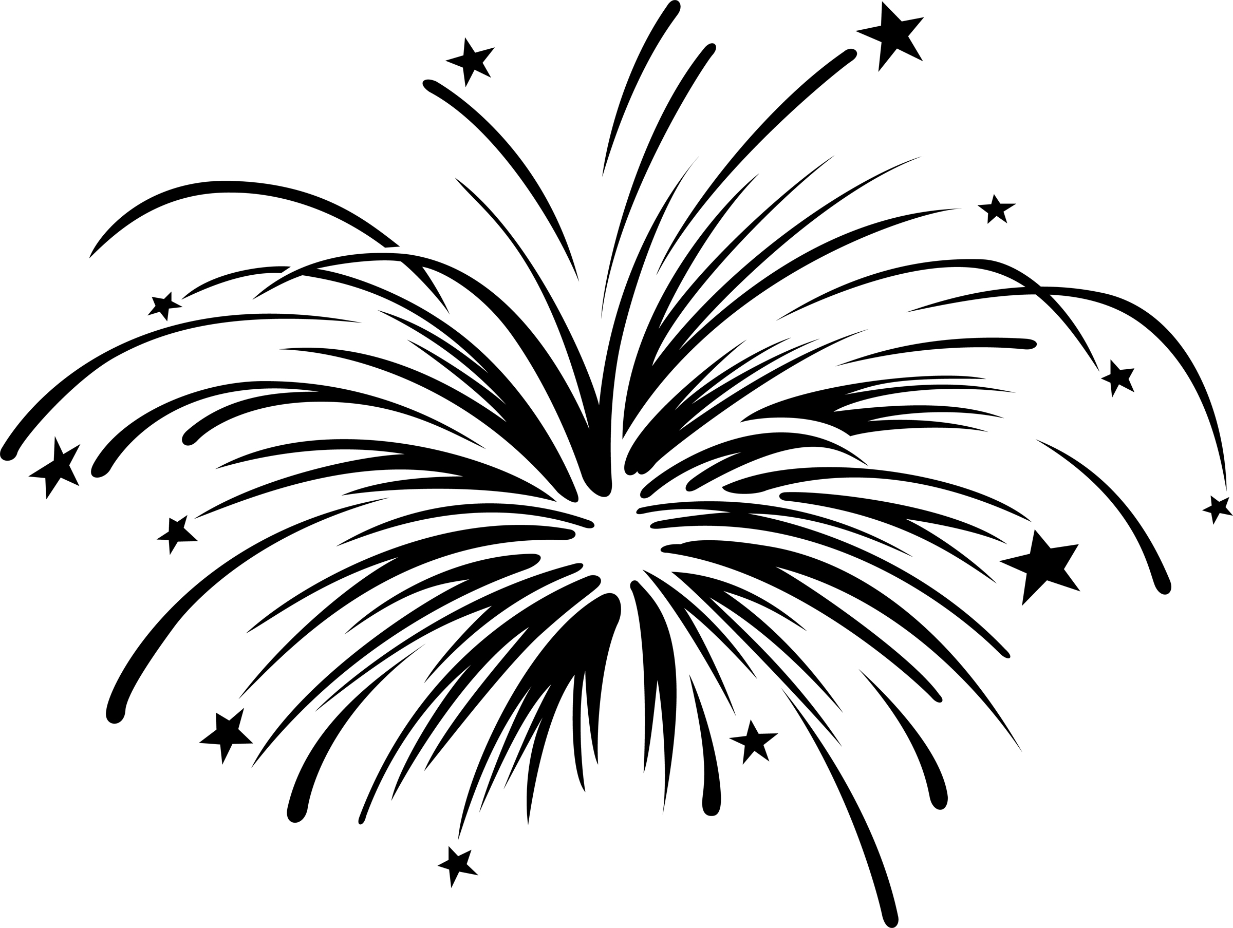 2400x1807 Fireworks Clipart Black And White Free