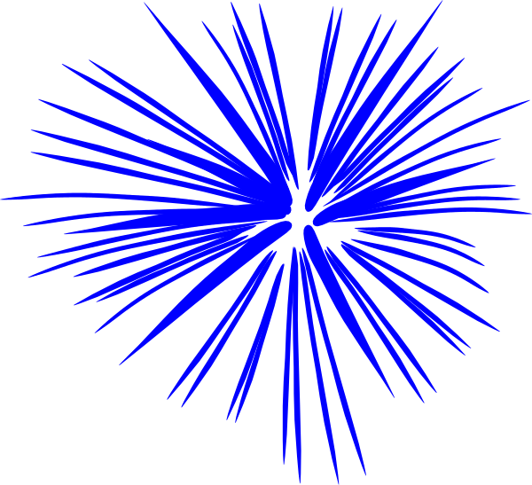 600x547 Blue Fireworks Clip Art