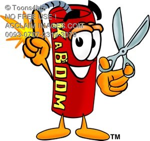 300x283 Toons4biz Cartoon Firecracker Holding Scissors