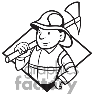 300x300 Firefighter Man Clipart Black And White