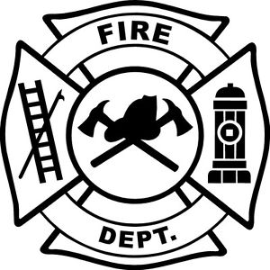300x300 White Vinyl Decal Fire Department Maltese Cross Firefighter