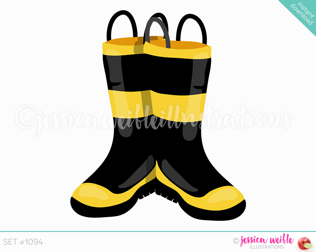 1020x816 Instant Download Firefighter Boots Clip Art, Cute Digital Clipart