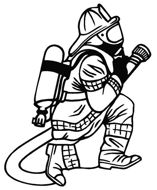 511x617 Firefighter Clipart Black And White Letters