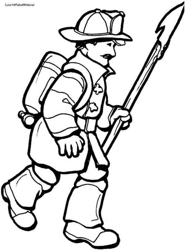 600x811 Firefighter Black And White Cartoon Fire Fighter Free Download