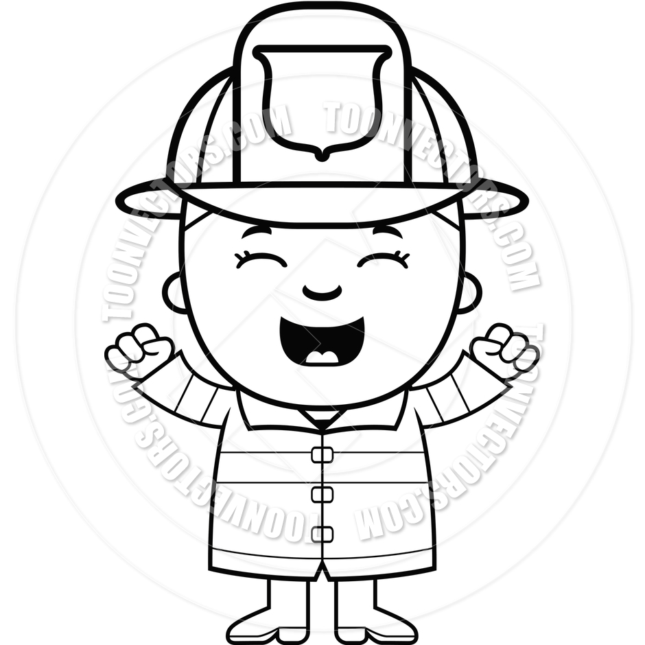 940x940 Boy Firefighter Excited (Black And White Line Art) By Cory Thoman