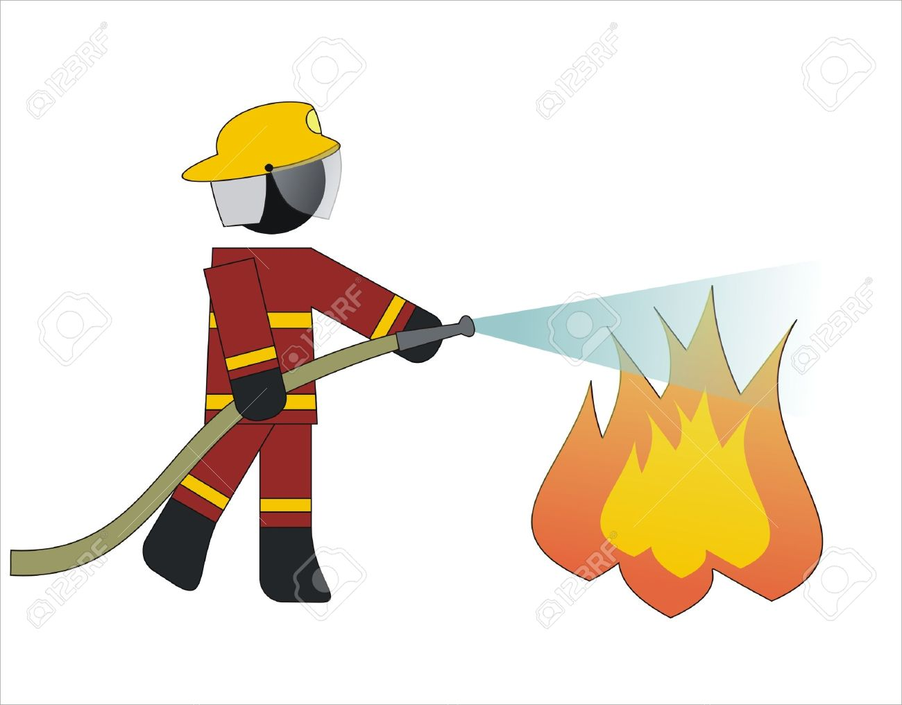 1300x1016 Firefighter Putting Out Fire Clipart
