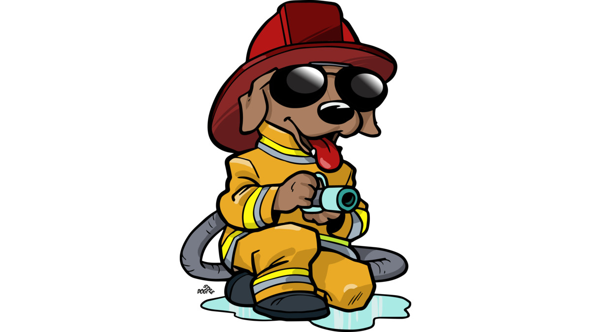 1200x675 Firefighter Cartoon Dog T Shirt By Dogistyle Design By Humans