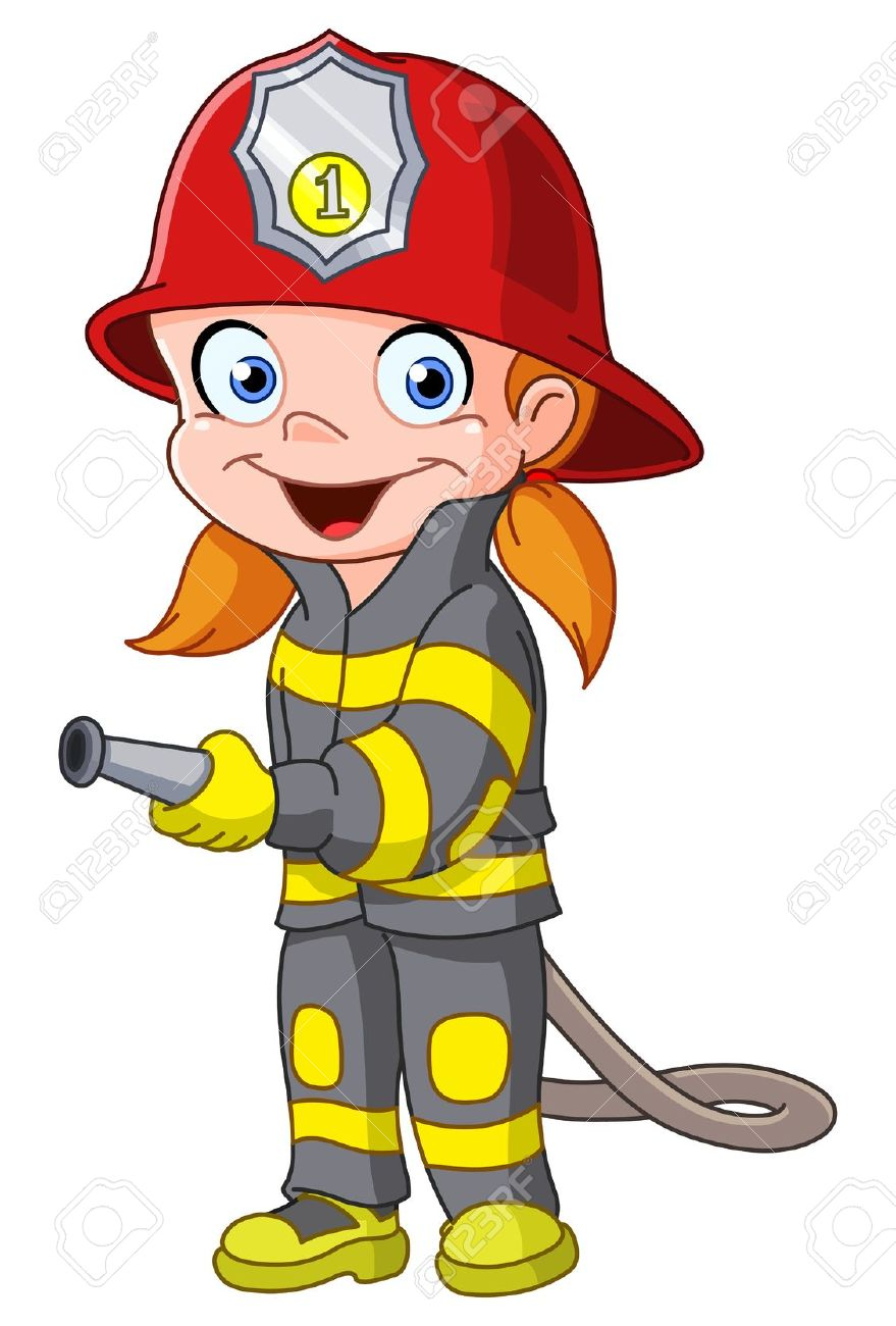 879x1300 Firefighters Fireman Animated Clipart Image
