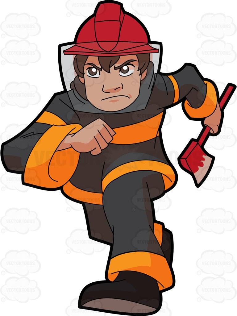 768x1024 A Male Firefighter Running To The Site Of Fire Cartoon Clipart