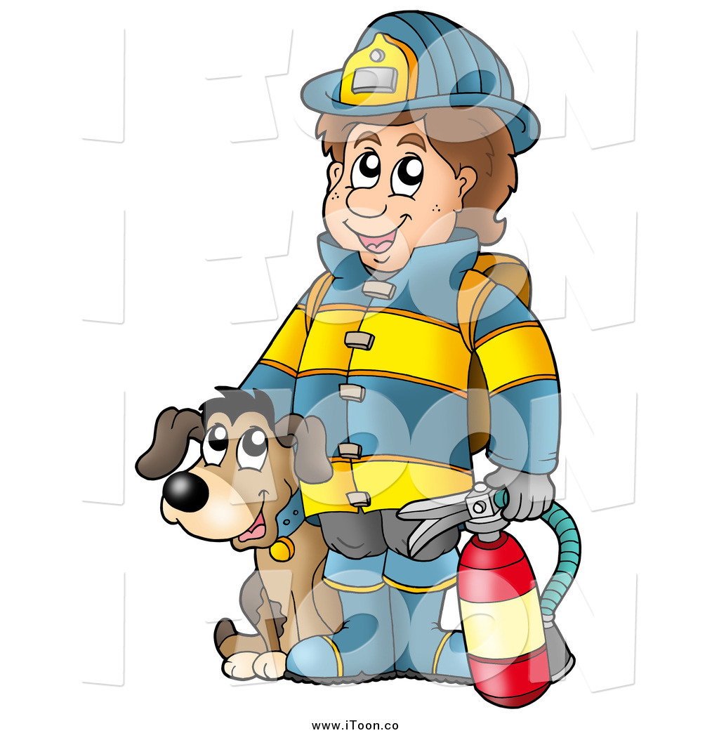 1024x1044 Royalty Free Cartoon Of A White Male Fireman By A Dog, Holding