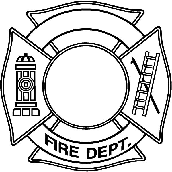600x601 Firefighter Badge Coloring Page Murderthestout