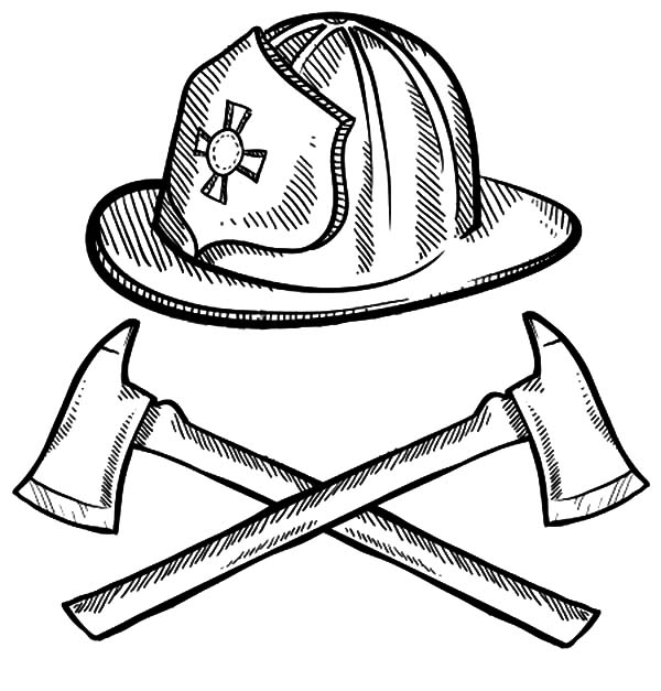 600x627 Firefighter Helmet And Axes Maltese Cross Coloring Pages Batch
