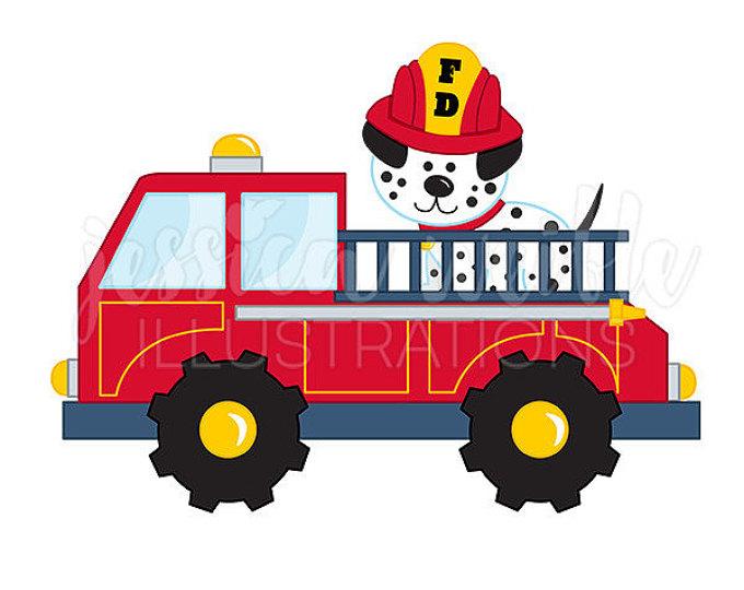 680x540 Fire Truck With Dalmatian Cute Digital Clipart, Fire Truck Clip