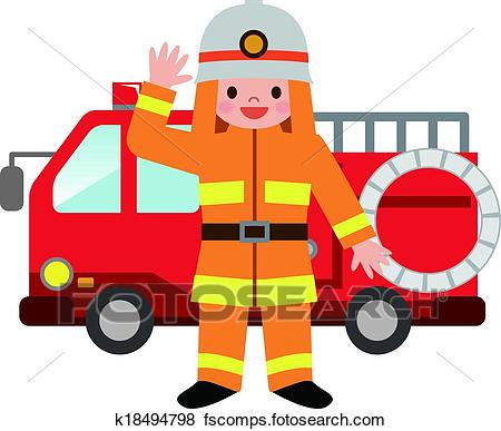 450x387 Clip Art Of Fire Truck And Firefighters Childre K18494798