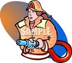 300x261 Firewoman Holding A Fire Hose