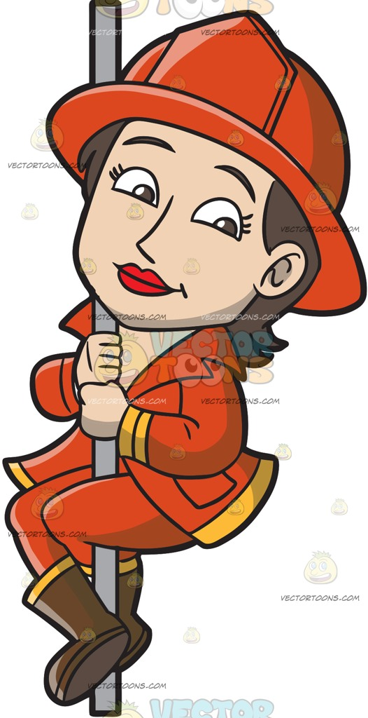 526x1024 A Female Firefighter Sliding Down The Pole Cartoon Clipart