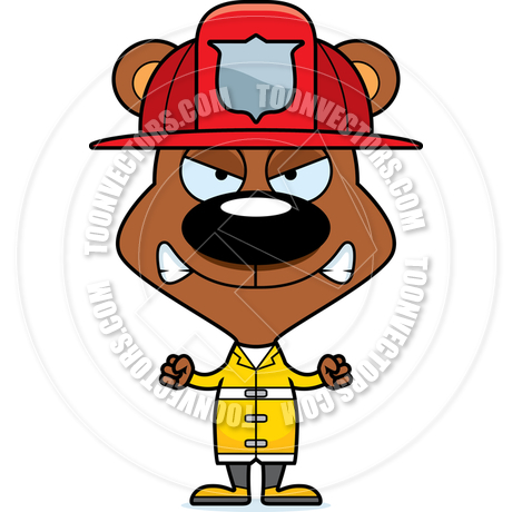 460x460 Cartoon Angry Firefighter Bear By Cory Thoman Toon Vectors Eps