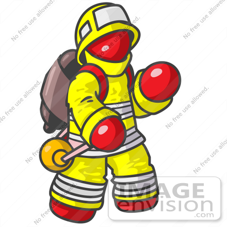 450x450 Clip Art Graphic Of A Red Guy Character Fireman