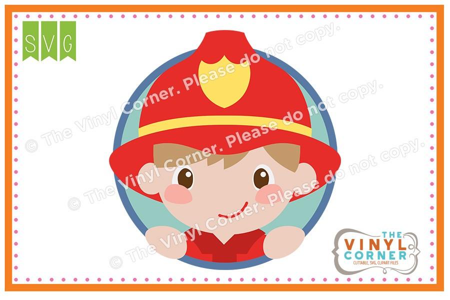900x600 Applique Corner Firefighter Boy Cuttable Svg Clipart Design