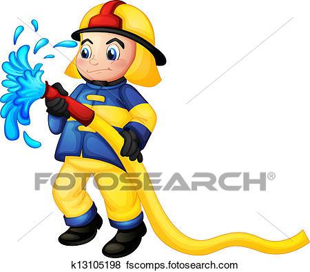 450x394 Clip Art Of A Fireman Holding A Yellow Water Hose K13105198