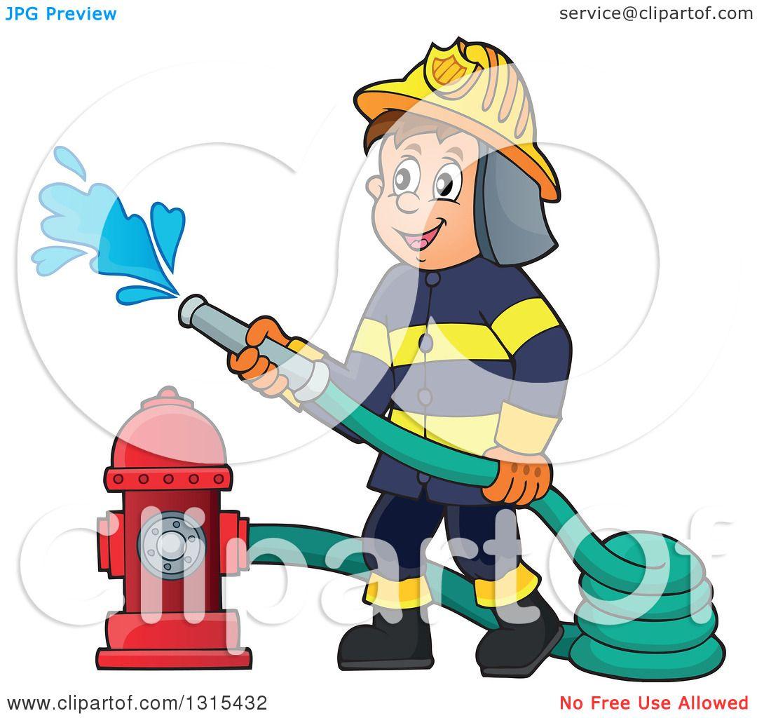 1080x1024 Clipart Of A Cartoon Happy White Male Fireman Using A Hose