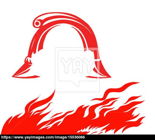 512x462 Fire And Fireman Helmet On White Background, Vector Illustration