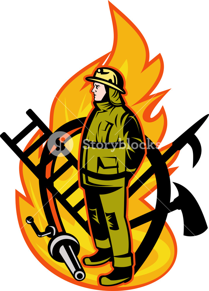 717x1000 Fireman Firefighter Axe Ladder Spear Hook Hose Royalty Free Stock