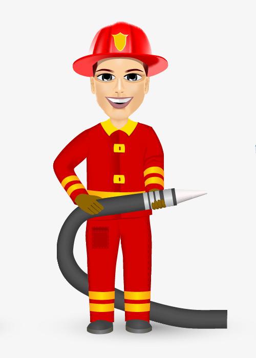 500x700 Cartoon Hand Painted Fireman, Firemen, Hand Painted Firefighters