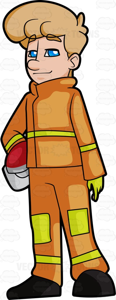 397x1024 A Happy And Confident Blonde Firefighter In Uniform Firefighter