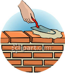 267x300 Person Spreading Cement On A Brick Wall Using A Bricklaying Trowel