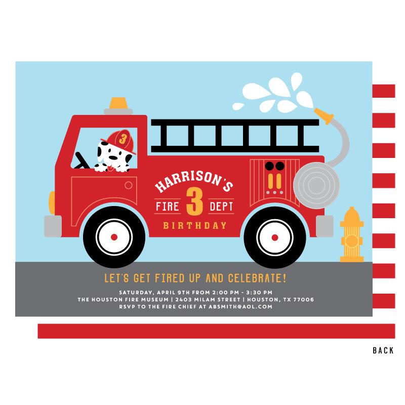 800x800 Fire Truck Invitation, Fire Truck Birthday Party Invitations