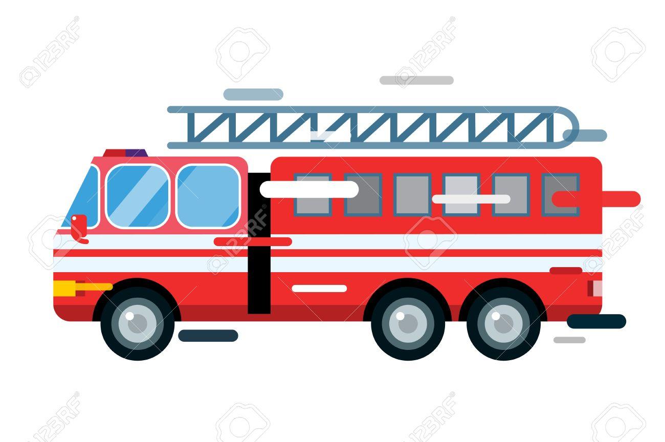 1300x864 Fire Truck Car Isolated. Fire Truck Vector Cartoon Silhouette
