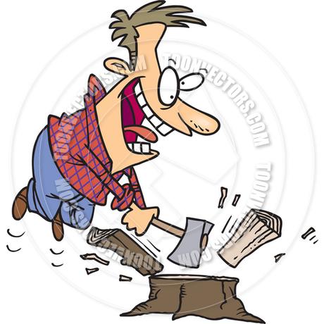 460x460 Cartoon Man Chopping Firewood By Ron Leishman Toon Vectors Eps