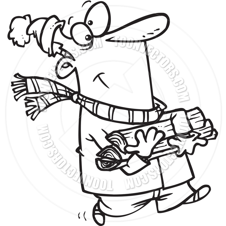 940x940 Cartoon Man Collecting Firewood (Black And White Line Art) By Ron