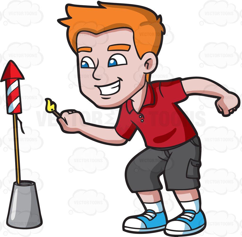 1024x1004 A Happy Guy Trying To Light A Rocket Firecracker Cartoon Clipart