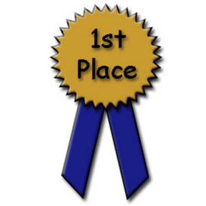 300x300 Clipart Picture Of A Blue And Gold 1st Place Ribbon