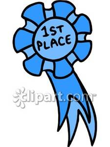 225x300 First Place Blue Ribbon Royalty Free Clipart Picture