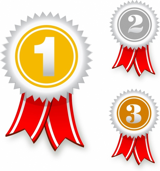 560x600 Gold, Silver And Bronze Award Ribbons Free Vector In Adobe