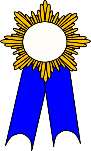 301x500 Vector Graphics Of Golden Medallion With Blue Ribbon Public