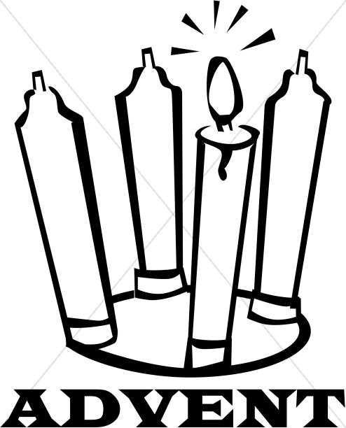 494x612 Black And White Advent Candles Christian Christmas Word Art Clip