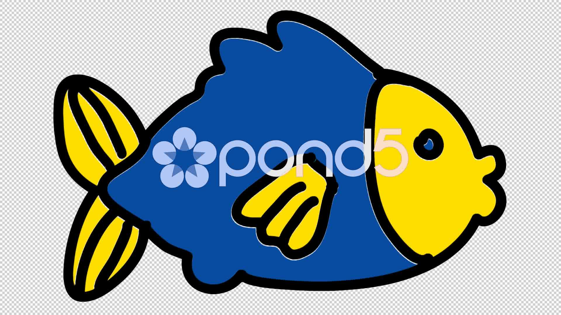 1920x1080 Video Fish Line Drawing Illustration Animation With Transparent