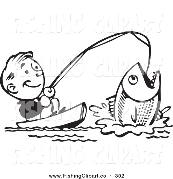 600x620 Clip Art of a Retro Black and White Man Catching a Giant Fish and