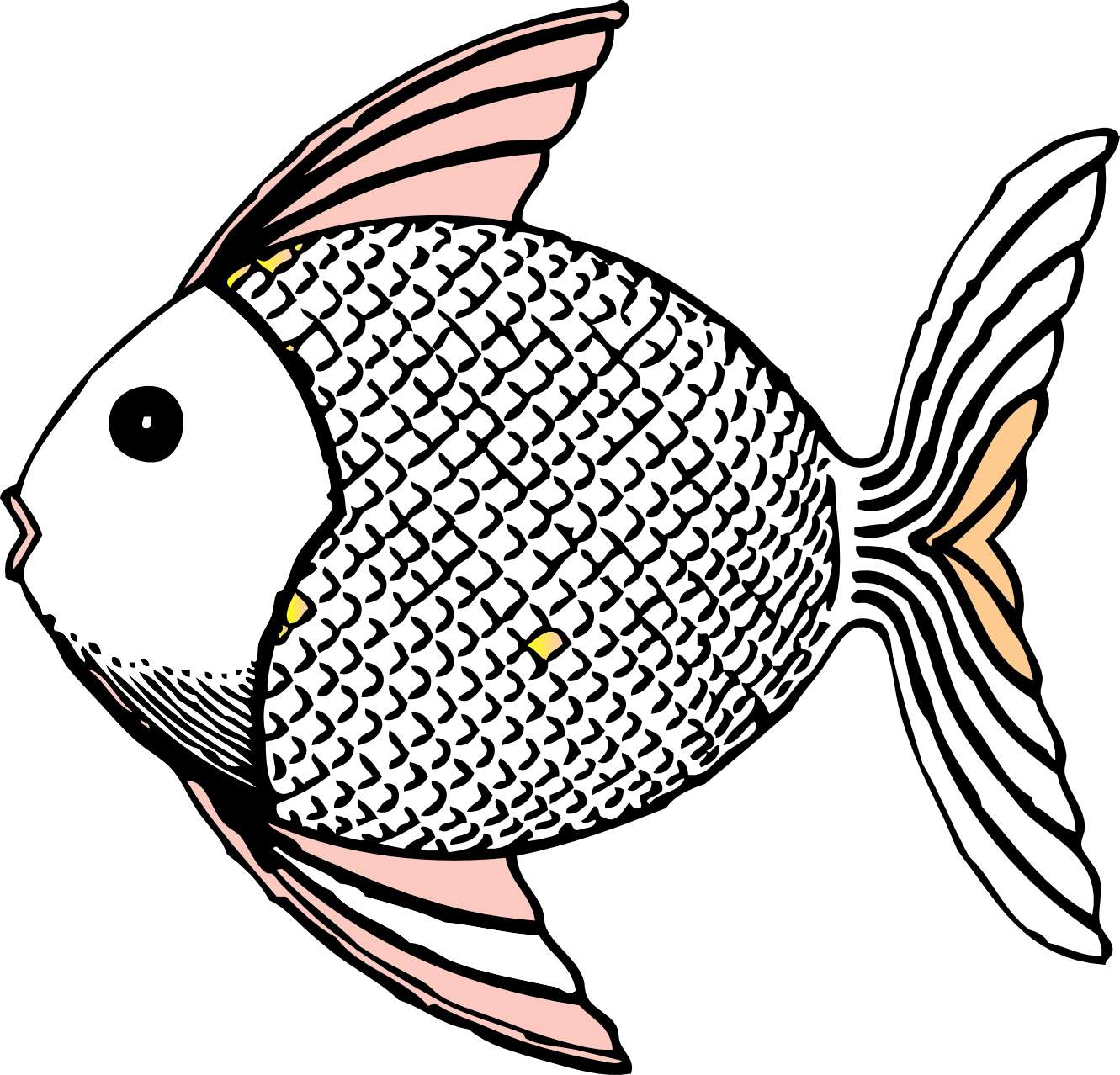 1331x1278 Fish black and white tropical fish clip art black and white free 2