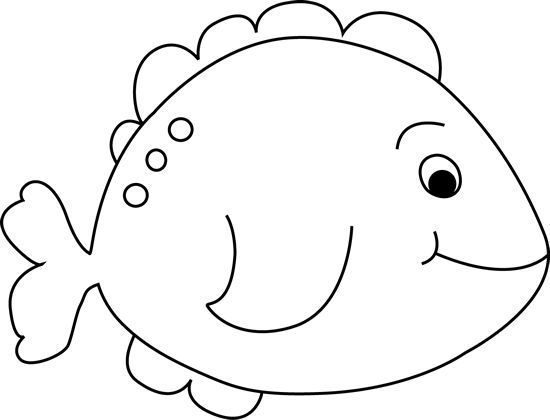 550x420 Image of Fish Clipart Black and White