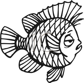 350x346 Royalty Free Clip Art Image Black and White Sleepy Cartoon Fish