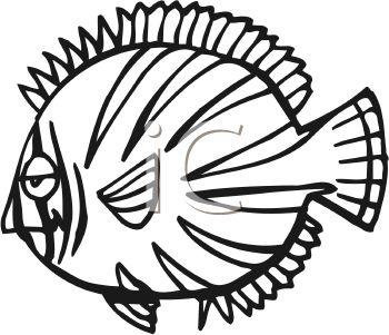 350x301 Cartoon Black And White Fish