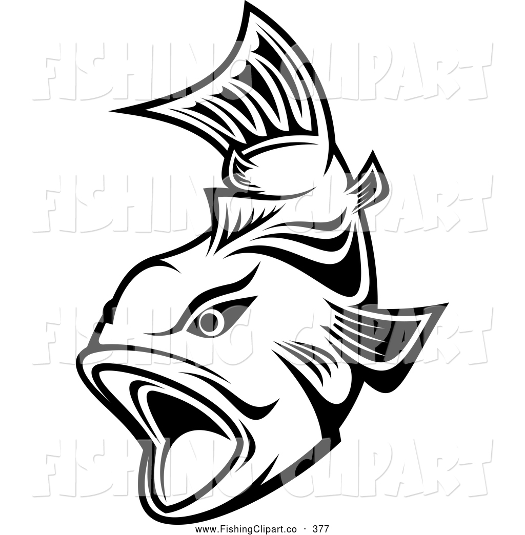 1024x1044 Clip Art Of A Friendly Black And White Trout Swimming With Mouth
